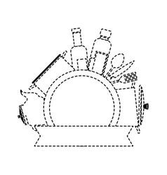 kitchen set equipment emblem vector image