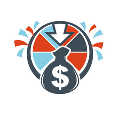 lottery winnings money bag hand drawn logotype vector image vector image