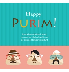 Purim party invitation with hipster haman ears vector