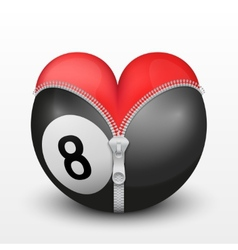 Red heart inside billiard ball vector