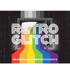retro glitch tv with rainbow vector image