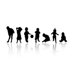 silhouettes - children vector image vector image