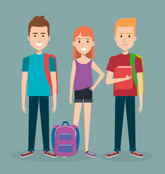 three students school standing together holding vector image