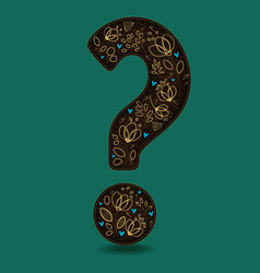 Vintage romantic question mark with golden flowers vector