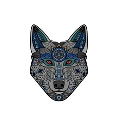 Wolf head in ethnic boho style vector