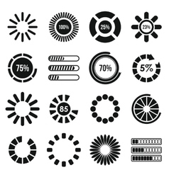 Loading bars and preloaders icons set vector image