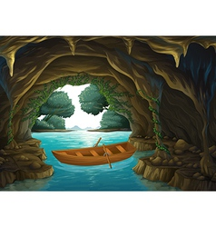 A boat in the cave vector image