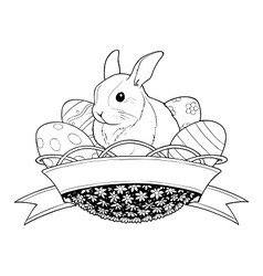 easter bunny rabbit in basket vector image