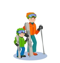 Father and son skiing in snow mountain family vector
