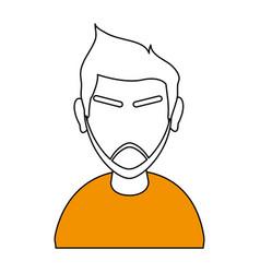 White and orange silhouette of cartoon half body vector