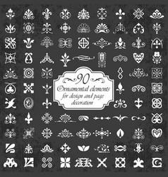 Ornamental elements for design on chalkboard vector