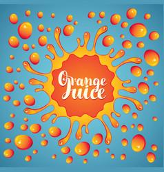 Banner orange juice juice splashes and drops vector