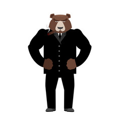 Bear boss grizzly businessman in business suit vector