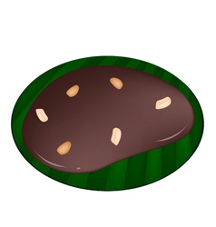 Thai caramel on a banana leaf container vector