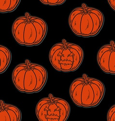 Halloween seamless pattern with pumpkins vector