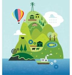 Cartoon map with island vector image