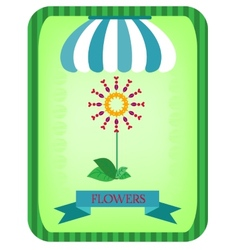 Colorful flower under a striped awning vector