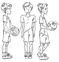 Set of full-length hand-drawn caucasian teens with vector