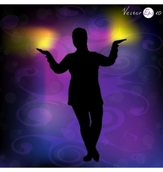 Silhouette of a woman doing meditation vector