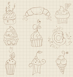 cupcakes sketch set vector image