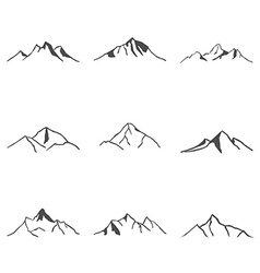 Set of mountain icons vector