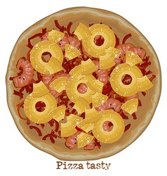 Pizza with shrimps and pineapple vector