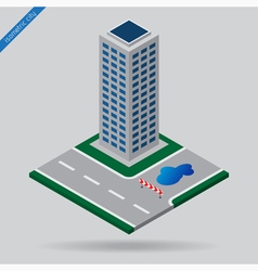 Isometric city - junction detour and skyscraper vector