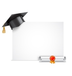 Graduation cap and diploma scroll vector