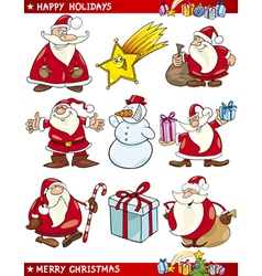 Cartoon set of christmas themes vector