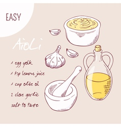 Aioli sauce recipe in vector