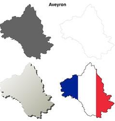 Aveyron midi-pyrenees outline map set vector