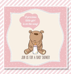 baby girl shower card with little teddy bear vector image