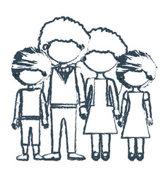 Blurred blue contour faceless curly hair family vector