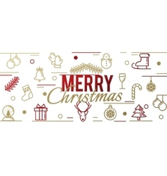 Card from festive gold linear symbols Happy New vector image vector image