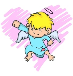 Cartoon image of cute little cupid with yellow vector