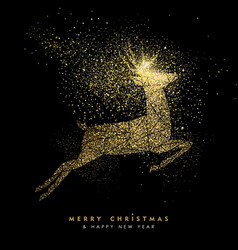 Christmas and new year holiday gold glitter deer vector