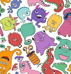 Colorful seamless pattern with funny monsters vector