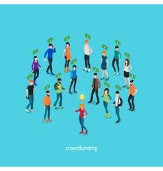 Crowdfunding isometric concept vector