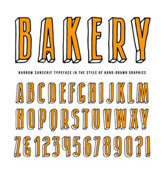 decorative sanserif bulk font vector image