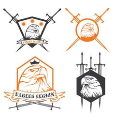 eagle with crown and swords crests collection vector image