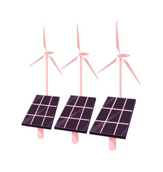 Flat solar panels wind power station vector