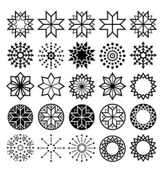 Geometric star shapes collection lineart abstract vector