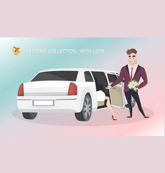 groom helps the bride get out of wedding limousine vector image vector image