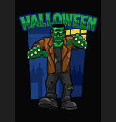 halloween design of frankenstein vector image vector image