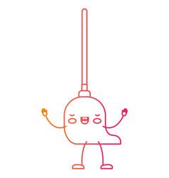 Kawaii cartoon mop with wooden stick in degraded vector