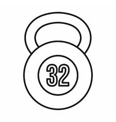 Kettlebell 32 kg icon outline style vector