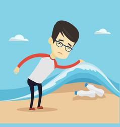 man showing plastic bottles under sea wave vector image
