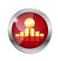 Money gold coins button vector
