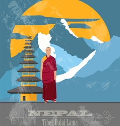Nepal landmarks retro styled image vector