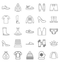 Outgoing clothes icons set outline style vector